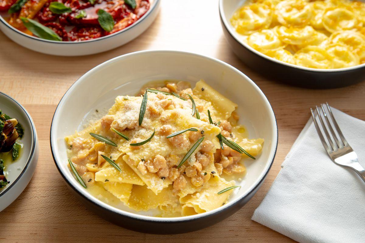 Chickpea Pappardelle, chickpeas, rosemary, garlic, parmigiano