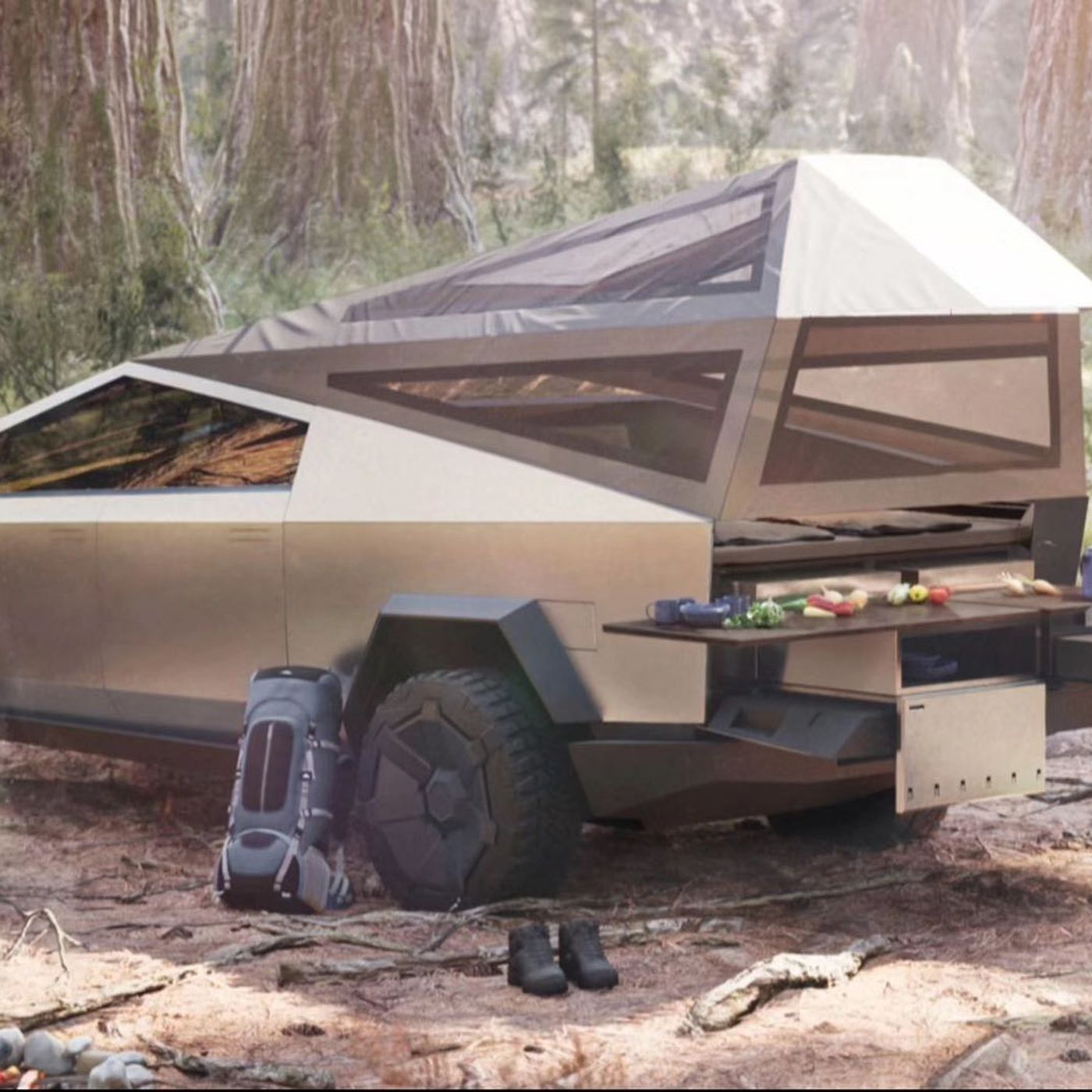 Tesla Cybertruck Teases Pop Up Camper Mode Curbed