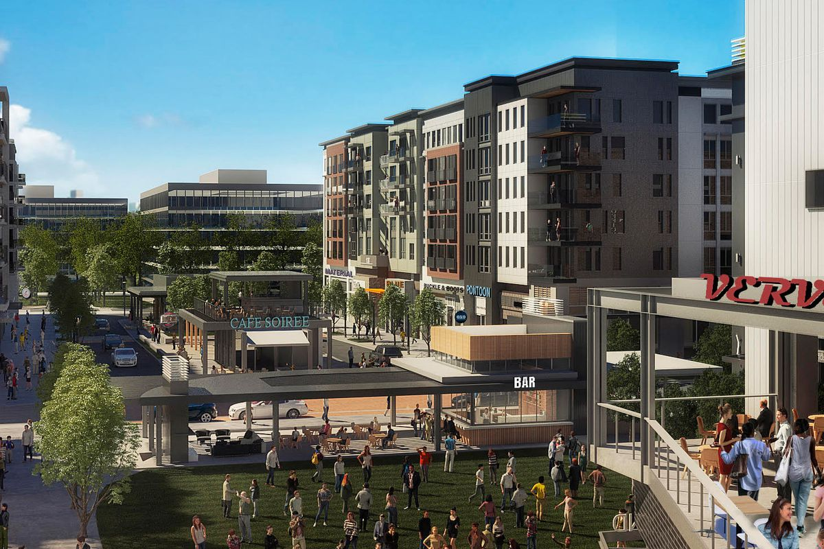 A rendering of the proposed project shows pedestrians aplenty roaming through an urban campus lined with mid-rise buildings.