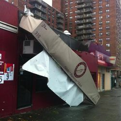 """<a href=""""https://twitter.com/kittenwithawhip/status/263244980267651072/photo/1"""">CNN's Kat Kinsman shares this photo, and notes</a>: """"Filfila Falafel 5th Ave & 9th St. Park Slope - canopy down. #Sandy"""""""