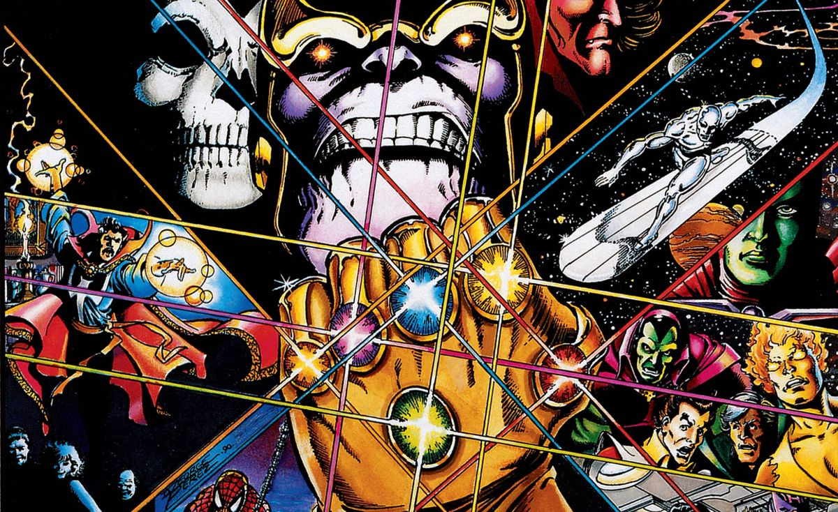 Thanos and other Marvel characters on the Cover of Infinity Gauntlet #1, Marvel Comics, 1991.
