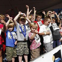 Children's race winners at the XTERRA Trail Running National Championship  race  Sunday, Sept. 25, 2011, in Snowbasin, Utah.