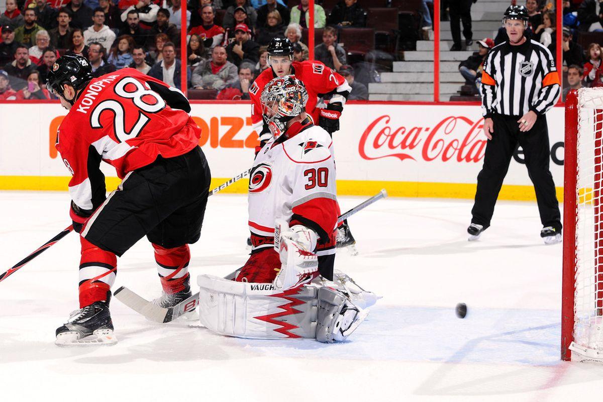 This version of Zenon Konopka has value to the Ottawa Senators.  (Photo by Phillip MacCallum/Getty Images)