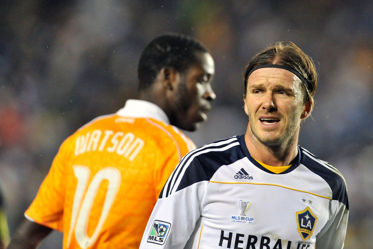 CARSON, CA - NOVEMBER 20: David Beckham at the MLS cup final held at The Home Depot Center on November 20, 2011 in Carson, California. (Photo by Toby Canham/Getty Images)
