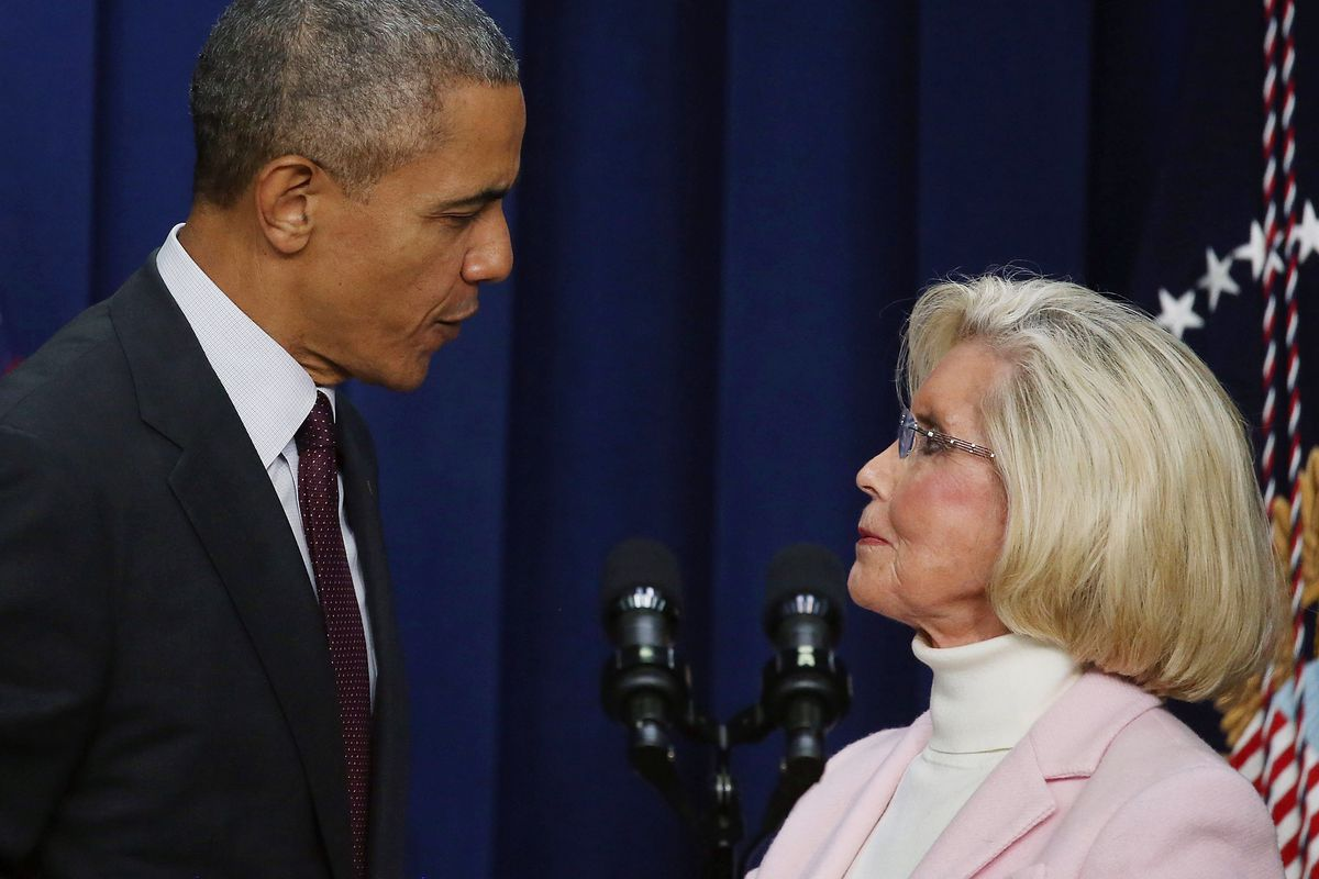 President Obama stands with Lilly Ledbetter on the seventh anniversary of the equal pay bill named after her.