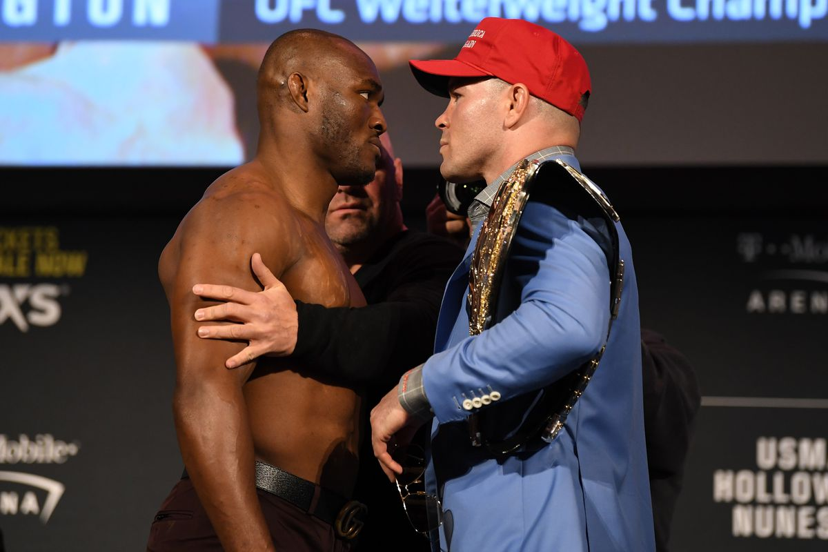 Kamaru Usman and Colby Covington during their pre-fight press conference ahead of UFC 245.