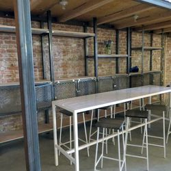 The cafe seating. Those shelves will be filled with products from the restaurant's local and Mexican purveyors.