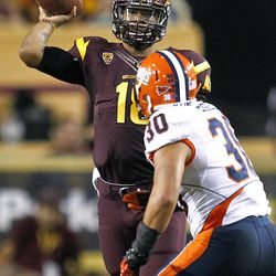 Arizona State quarterback Michael Eubank (18) throws over Illinois linebacker Houston Bates (30) during the first half of an NCAA college football game, Saturday, Sept. 8, 2012,in Tempe, Ariz.