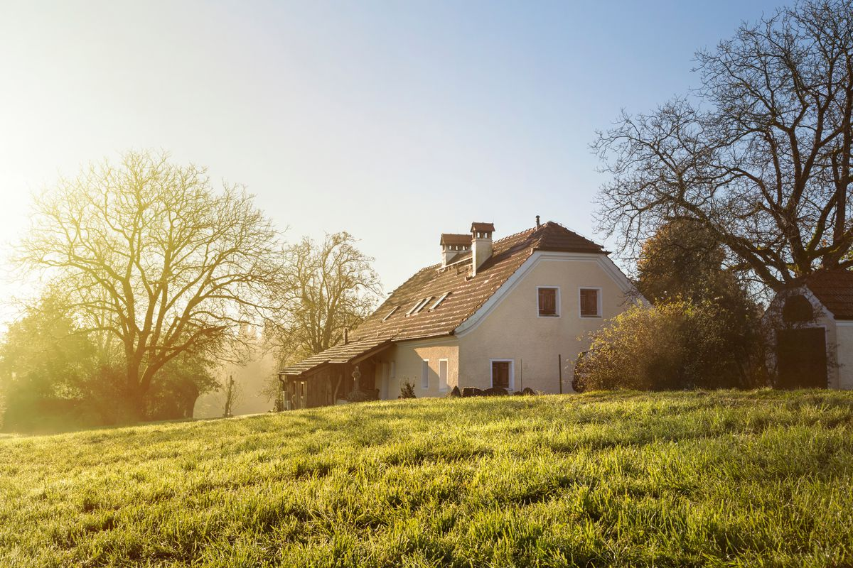 A country house surrounded by trees at sunrise.