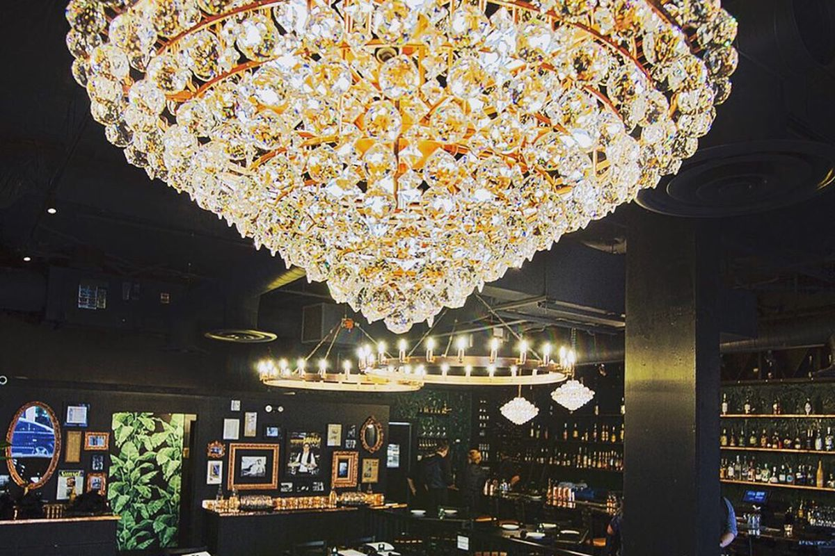 A large crystal chandelier at Phoenecia.
