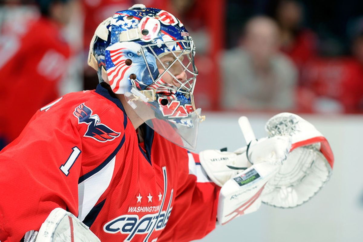 WASHINGTON DC - FEBRUARY 12:  Semyon Varlamov #1 of the Washington Capitals warms up before the game against the Los Angeles Kings at the Verizon Center on February 12 2011 in Washington DC.  (Photo by Greg Fiume/Getty Images)
