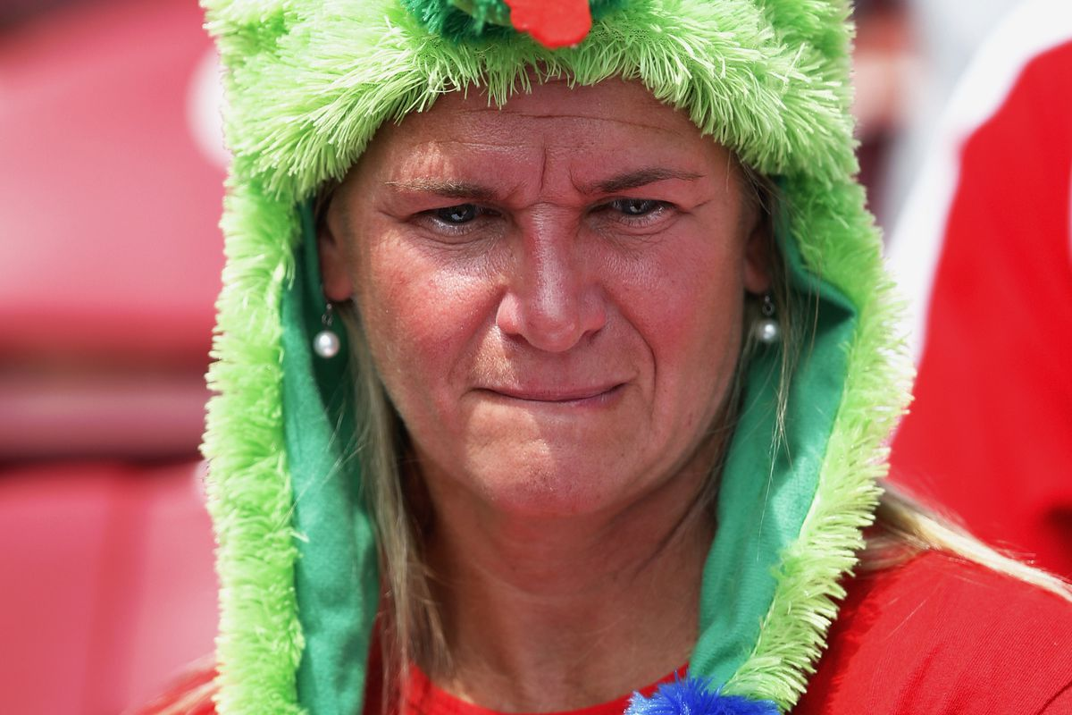 Couldn't find any R-Phils pics that I hadn't already used this year, so instead, enjoy this photo of a Phillies fan wearing a Phanatic dangle hat. (Photo by Joe Robbins/Getty Images)