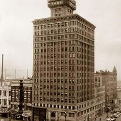 The Walker Bank Building on the corner of Main Street and 200 South in 1956. When the building as built in 1912, it was the tallest building west of the Mississippi.