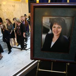 Lockhart family members enter the public memorial service for former Speaker of the House Rebecca Lockhart in the Capitol Rotunda in Salt Lake City on Thursday, Jan. 22, 2015. Lockhart died at her home in Provo on Jan. 17, 2015, from a rare brain disease.