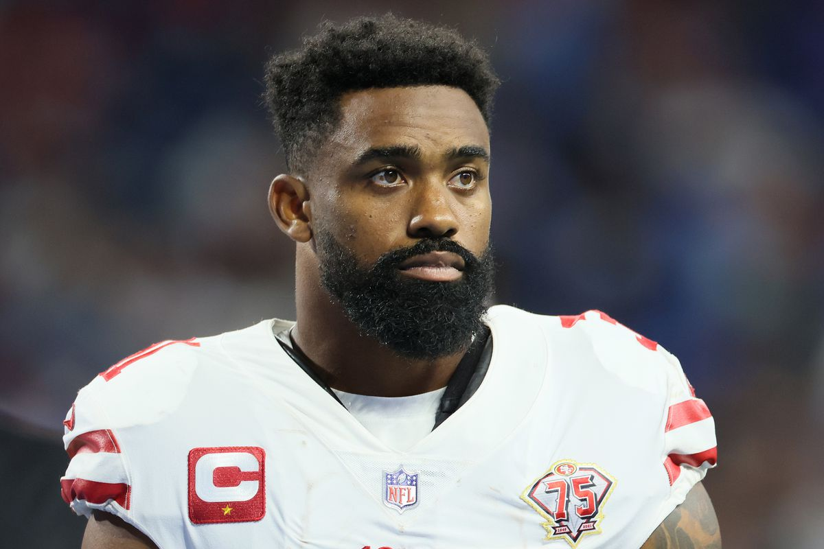 Raheem Mostert (31) looks on from the sidelines during an NFL football game between the Detroit Lions and the San Francisco 49ers in Detroit, Michigan USA, on Sunday, September 12, 2021.