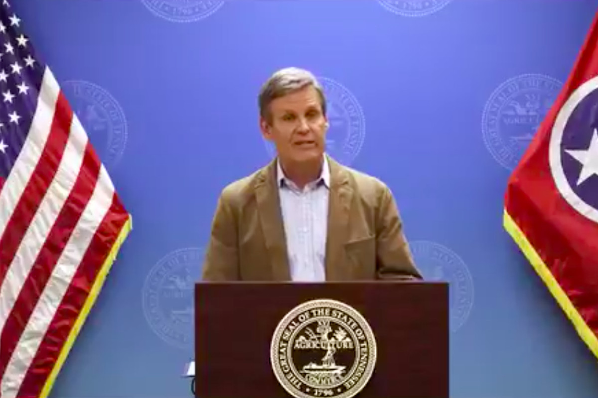 Gov. Bill Lee conducts his daily press briefing on Tennessee's response to the coronavirus pandemic.