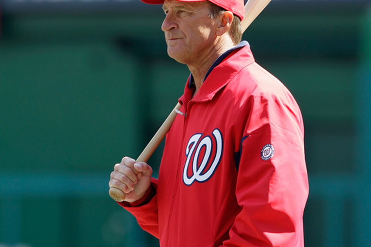 WASHINGTON, DC - APRIL 03: Jim Riggleman #5 manager of the Washington Nationals looks on before the start of their game against the Atlanta Braves at Nationals Park on April 3, 2011 in Washington, DC.  (Photo by Rob Carr/Getty Images)