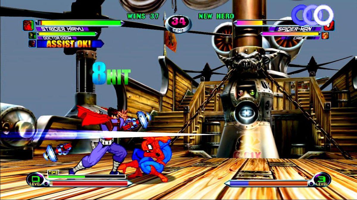 Strider attacks in Marvel vs. Capcom 2