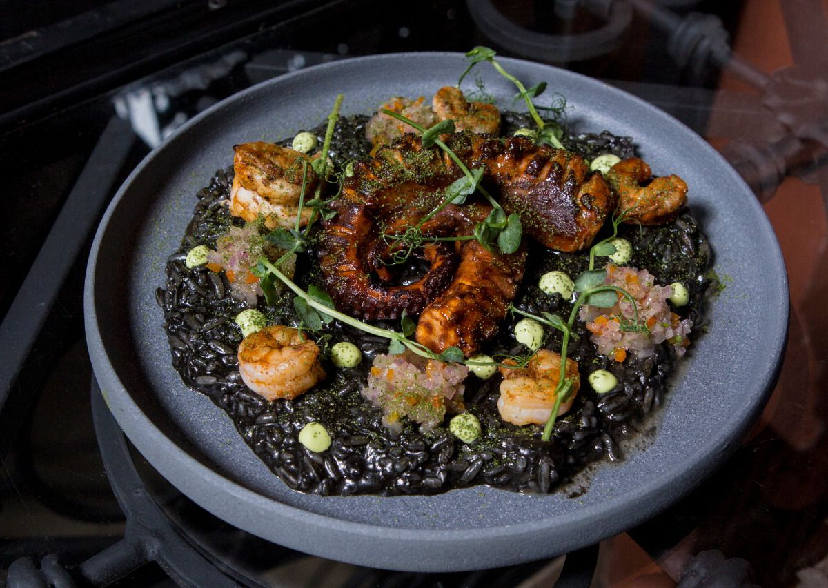 A wide, short-lipped dish with a large spread of black rice topped with two interlocking swirled tendrils of octopus, surrounded by dots of other seafood, sauce, and herbal garnishes