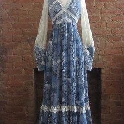 Gilded Gypsies 1970s Gunne Sax blue floral maxi ($155)