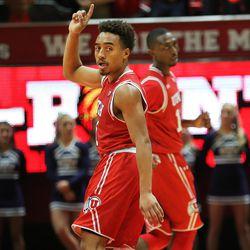 Utah Utes guard Brandon Taylor (11) gestures as Utah and BYU play in the Huntsman Center in Salt Lake City Wednesday, Dec. 2, 2015. Utah won 83-75.