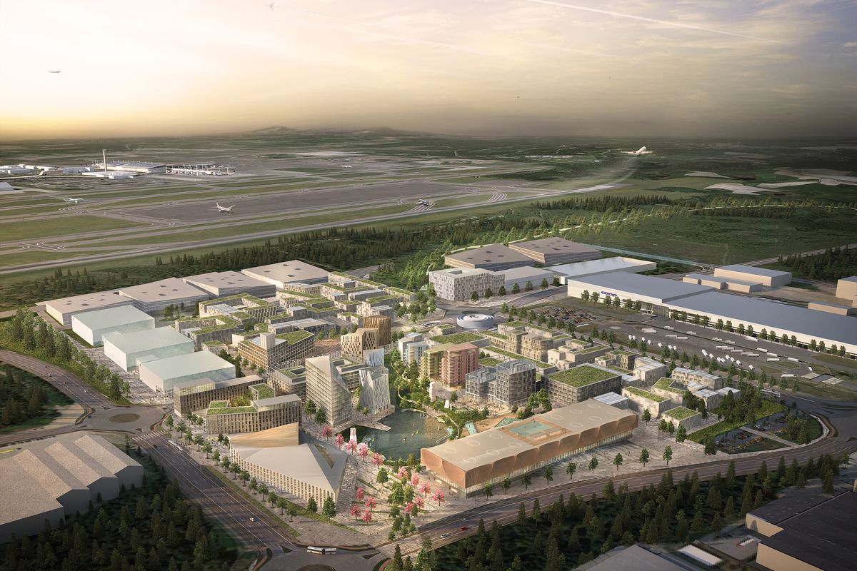 Aerial rendering of the proposed Oslo Airport City.