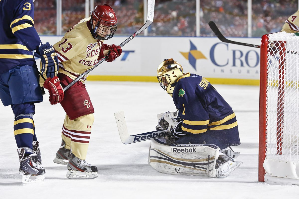 Johnny Gaudreau looks for a rebound as Steven Summerhays covers the puck.