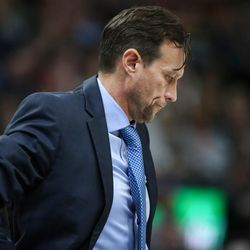 Utah Jazz head coach Quin Snyder calls a time out as the Jazz trail the Cleveland Cavaliers in the first half at Vivint Arena in Salt Lake City on Saturday, Dec. 30, 2017.