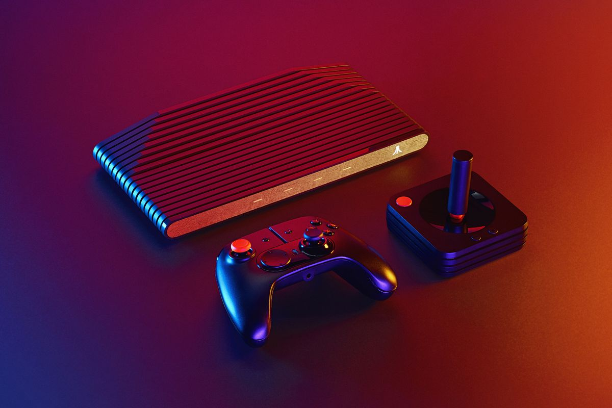 product shot showing the Atari VCS and its two controller types
