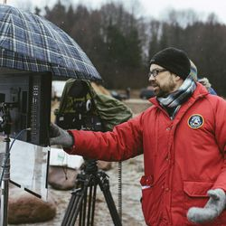 """Director Adam Thomas Anderegg on set in Lithuania for BYUtv's """"Winter Thaw."""""""