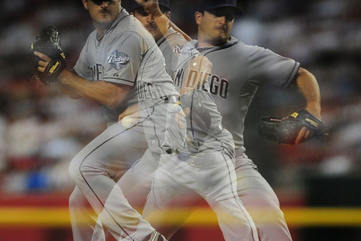 Jul. 4, 2012; Phoenix, AZ, USA; (Editors note: multiple exposure photograph) San Diego Padres pitcher Jason Marquis (38) pitches against the Arizona Diamondbacks at Chase Field. Mandatory Credit: Jennifer Stewart-US PRESSWIRE