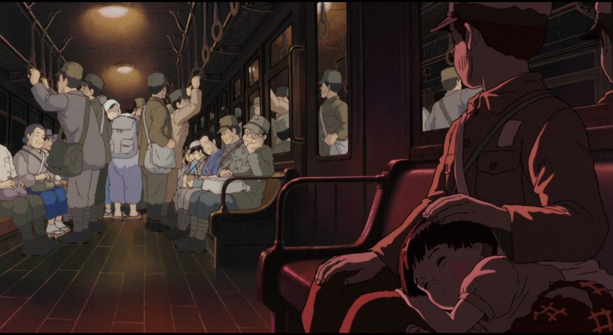 Grave of the Fireflies: boy and girl sit on a train, dead