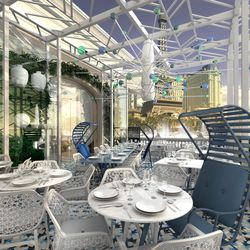 Rendering of the Lago patio in white