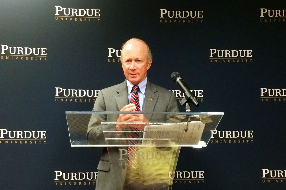 Purdue University President Mitch Daniels announces plans for a Purdue Polytechnic High School in Indianapolis.