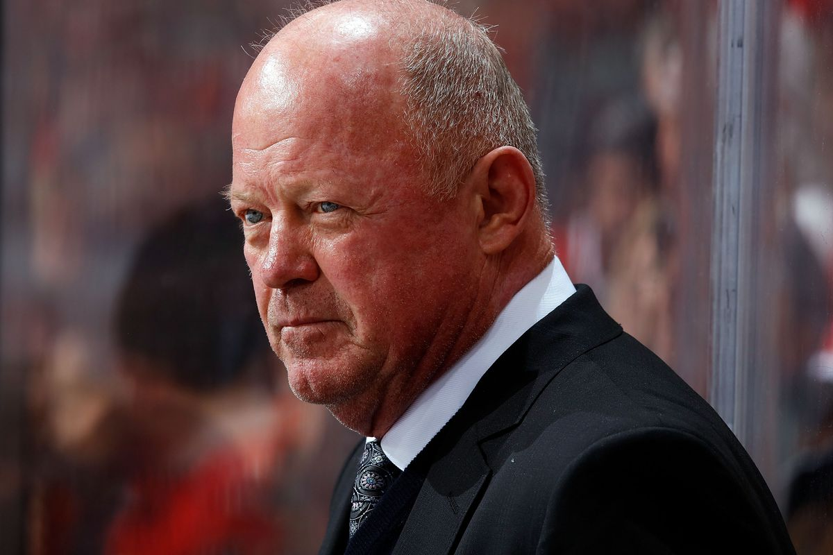 CALGARY, AB - FEBRUARY 22: Interim head coach of the Anaheim Ducks, Bob Murray watches his team during an NHL game against the Calgary Flames on February 22, 2019 at the Scotiabank Saddledome in Calgary, Alberta, Canada.