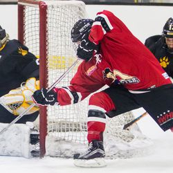 Metropolitan Riveters Forward Miye D'Oench with a wrap around attempt during a game against the Boston Pride