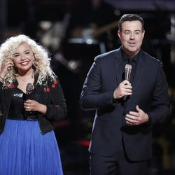 """Aaliyah Rose stands with Carson Daly after performing at the live playoffs on """"The Voice."""""""