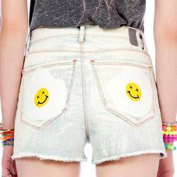 "Karma denim shorts, <a href=""http://www.jco.la/preorder/karma""target=""_blank"">$74</a>."