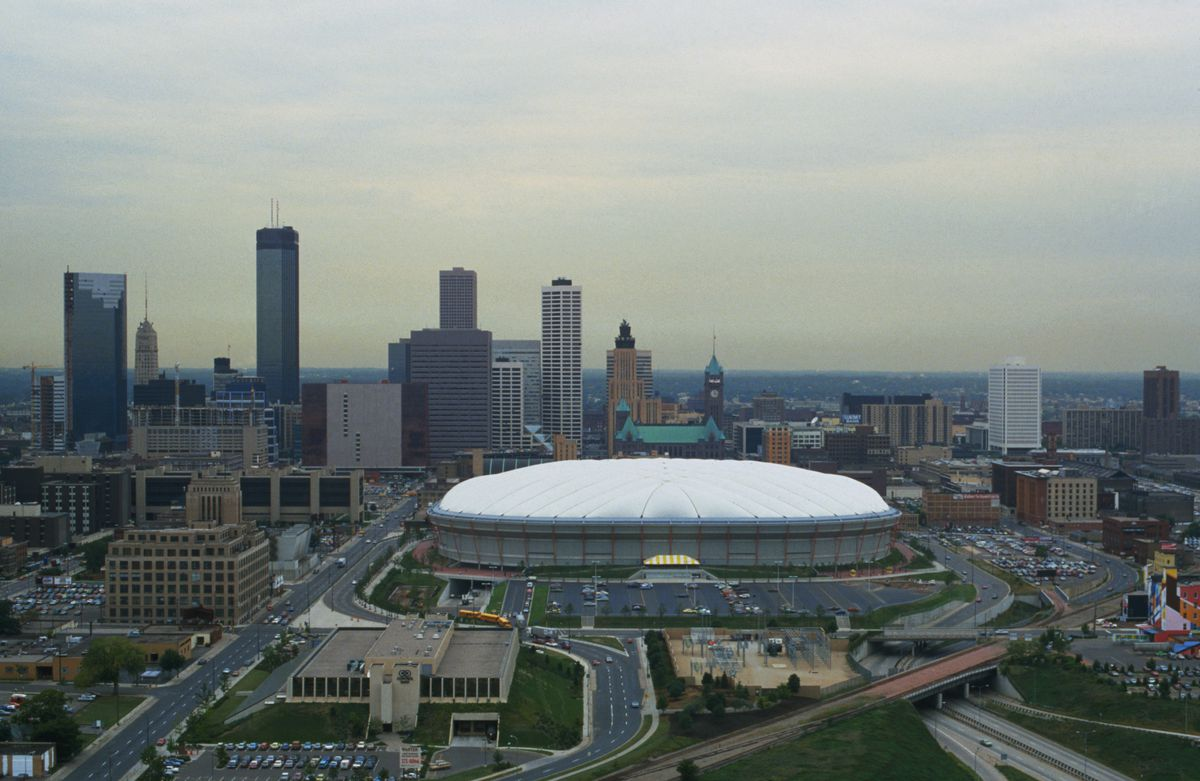A view of the Hubert H. Humphrey Metrodome in Minneapolis, Minnesota, which is home to the Minnesota Twins and the Minnesota Vikings.