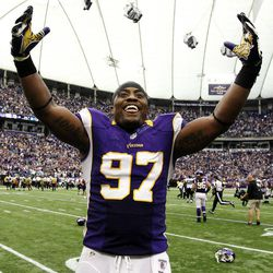 Minnesota Vikings defensive end Everson Griffen celebrates after his team's 26-23 overtime win over the Jacksonville Jaguars in an NFL football game, Sunday, Sept. 9, 2012, in Minneapolis.