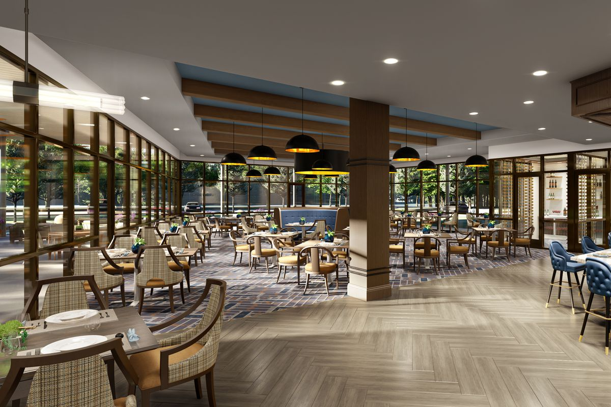 A rendering of an open dining room