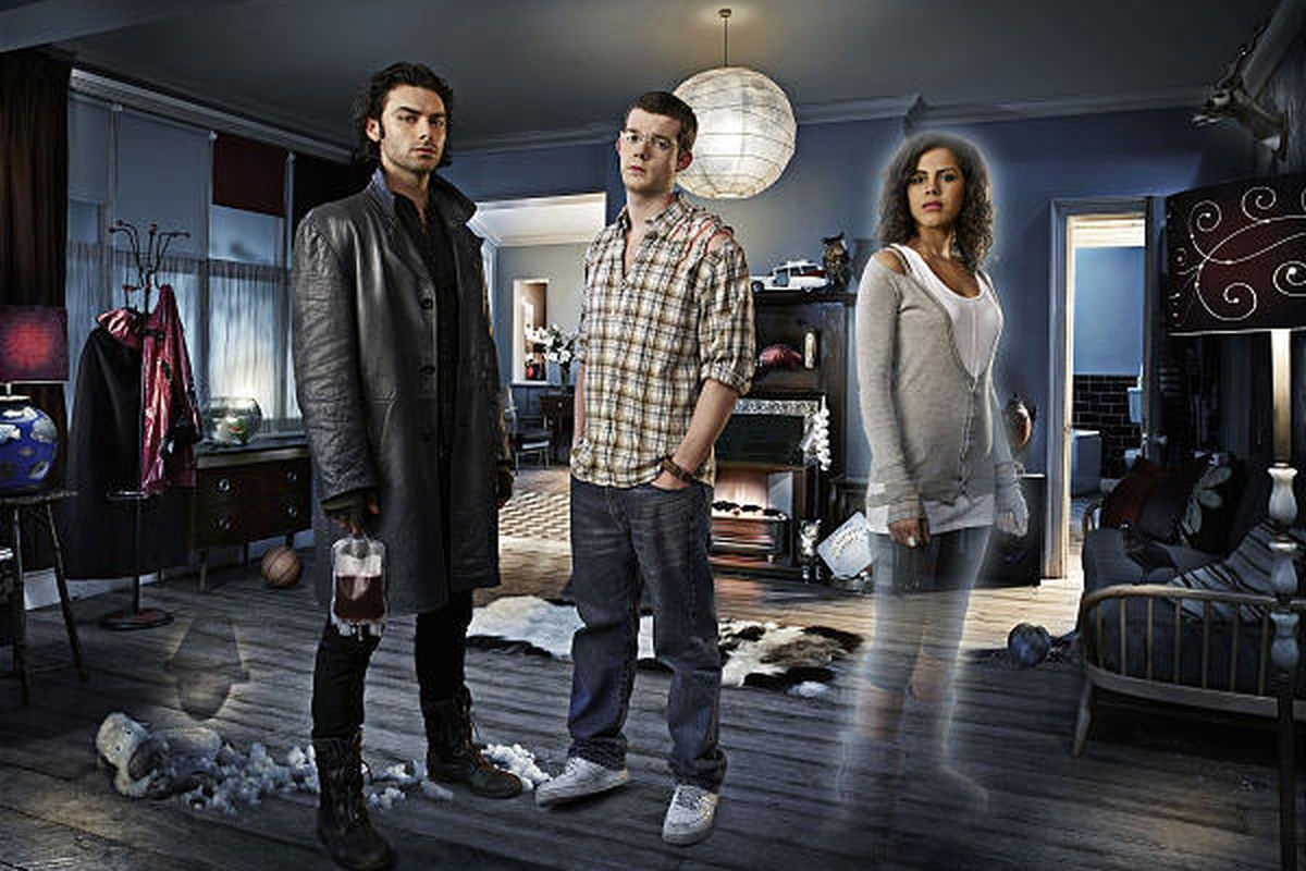 """Aidan Turner, left, Russell Tovey and Lenora Crichlow are the stars of """"Being Human."""""""