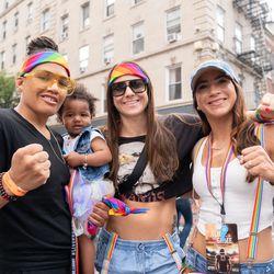From left, openly LGBTQ fighters Sijara Eubanks, Nina Ansaroff and Tecia Torres.