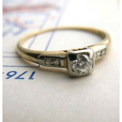 """1930s Two Tone Engagement Ring, <a href=""""http://ericaweiner.com/item.php?item_id=555&category_id=46"""" target=""""_blank"""" rel=""""nofollow"""">Erica Weiner</a>, $625"""
