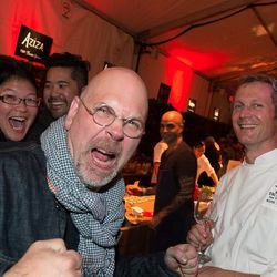 Staffan Terje on Sunday in the tasting tent (Mark Dommen and Brandon Jew in the background)