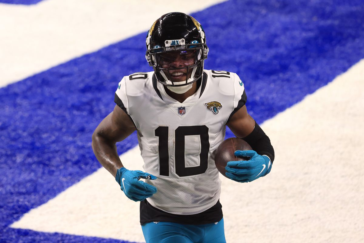 Laviska Shenault Jr. #10 of the Jacksonville Jaguars in the end zone in the game against the Indianapolis Colts at Lucas Oil Stadium on January 03, 2021 in Indianapolis, Indiana.
