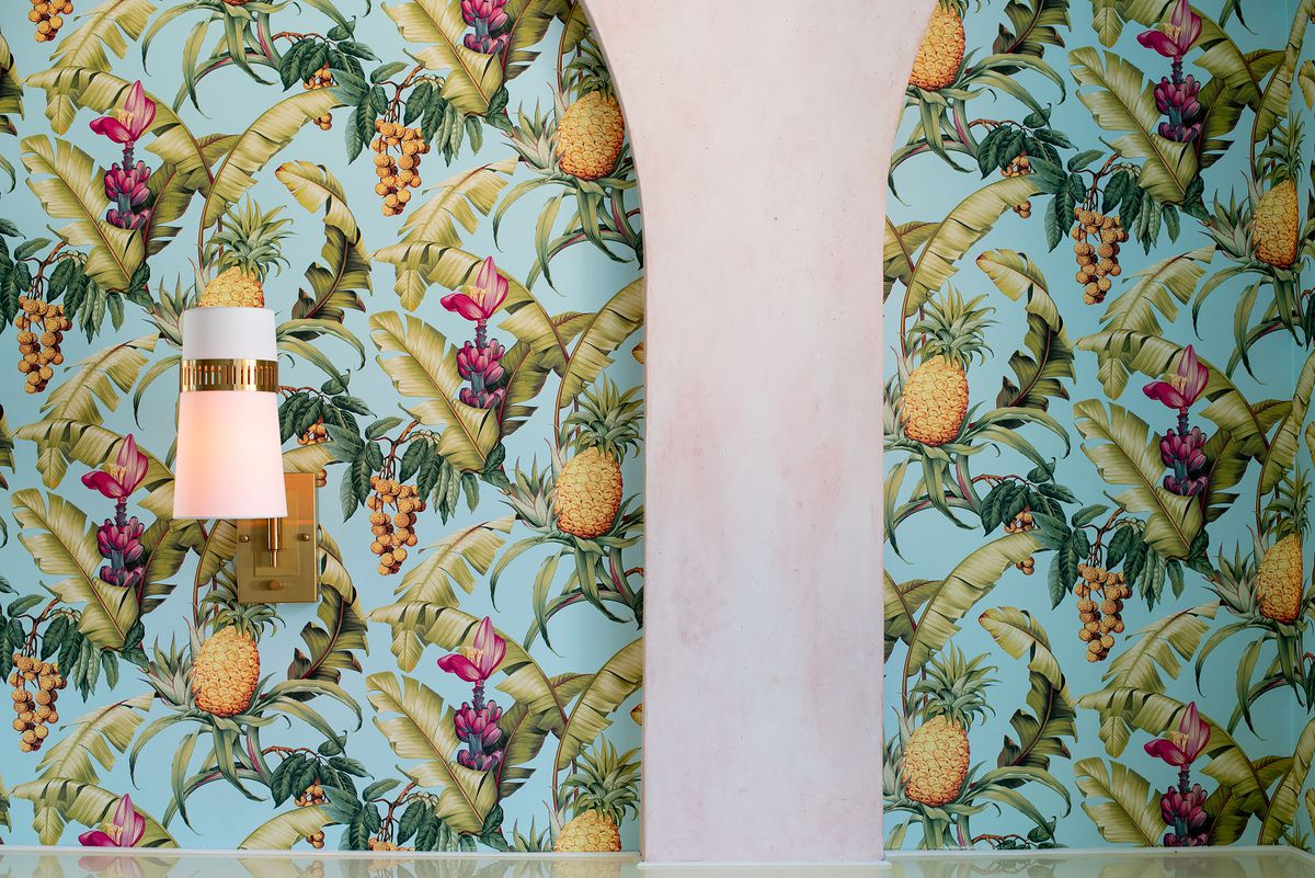 Colorful bar wallpaper with pineapples.