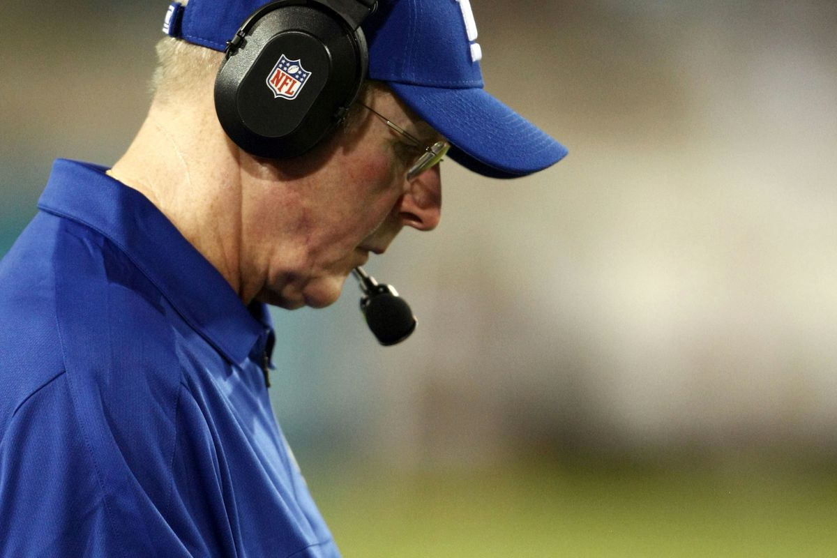 Aug 10, 2012; Jacksonville FL, USA; New York Giants head coach Tom Coughlin takes notes on the sideline during the second quarter against the Jacksonville Jaguars at EverBank Field. Douglas Jones-US PRESSWIRE