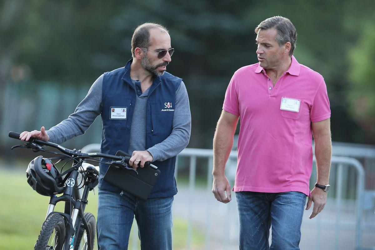 New Uber CEO Dara Khosrowshahi pushes his bike at Sun Valley, Idaho.
