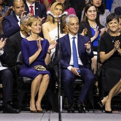 Former Mayor Rahm Emanuel points at Mayor Lori Lightfoot as she mentions him during her inaugural address at Wintrust Arena, Monday morning, May 20, 2019.